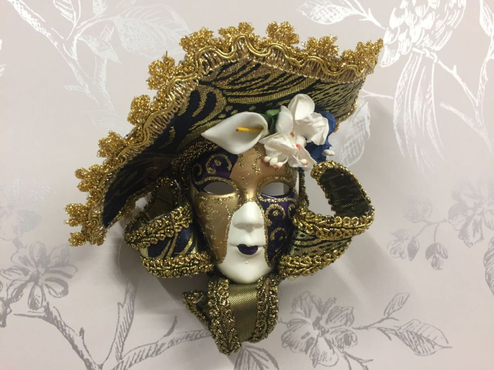 Romano Masquerade Mask Wall / Tree Hanging ~ DARK BLUE ~ Gold